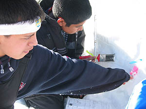 Students take snow pit measurements